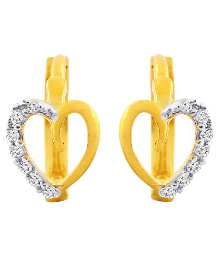 Jewelscart Golden Alloy Huggies Earrings