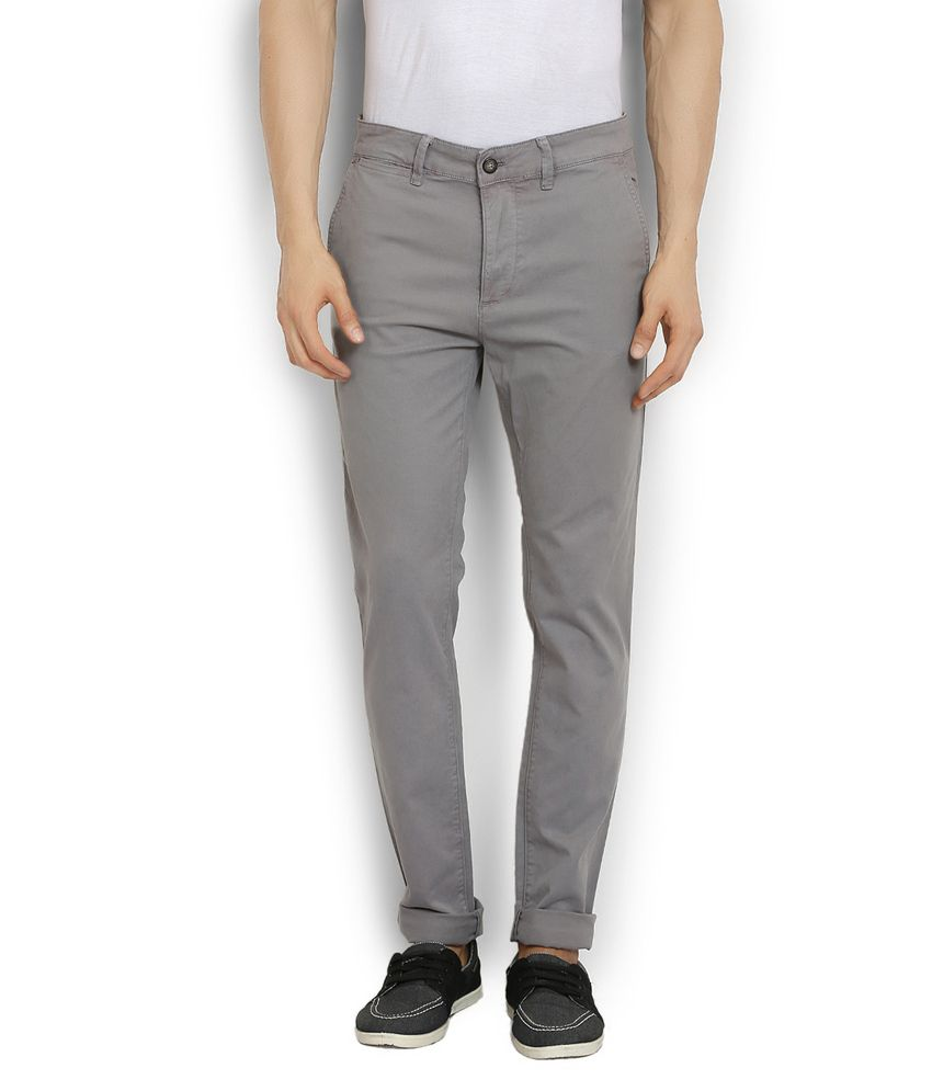 Stanley Kane Grey Slim Fit Casual Chinos Trouser