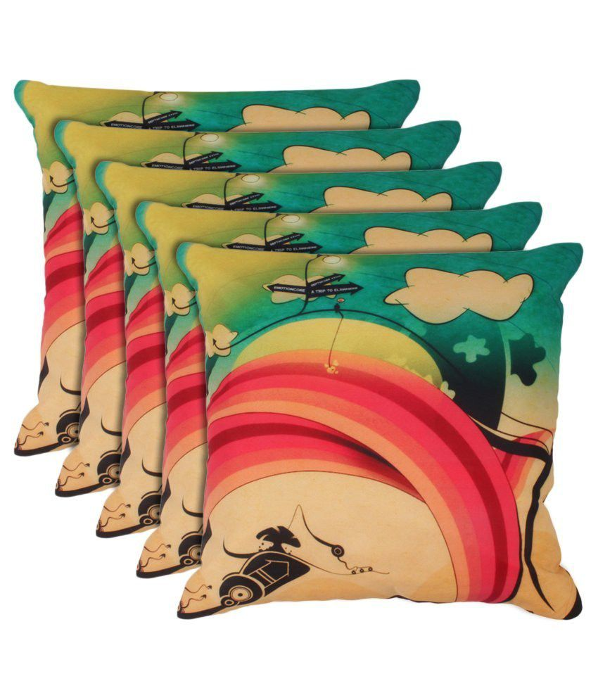 Eccellente Multicolour Printed Cotton Cushion Cover - Set Of 5