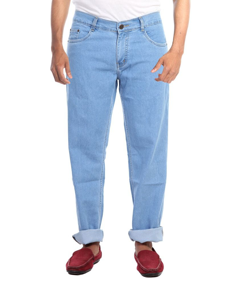 Haltung Blue Cotton Blend Regular Fit Jeans