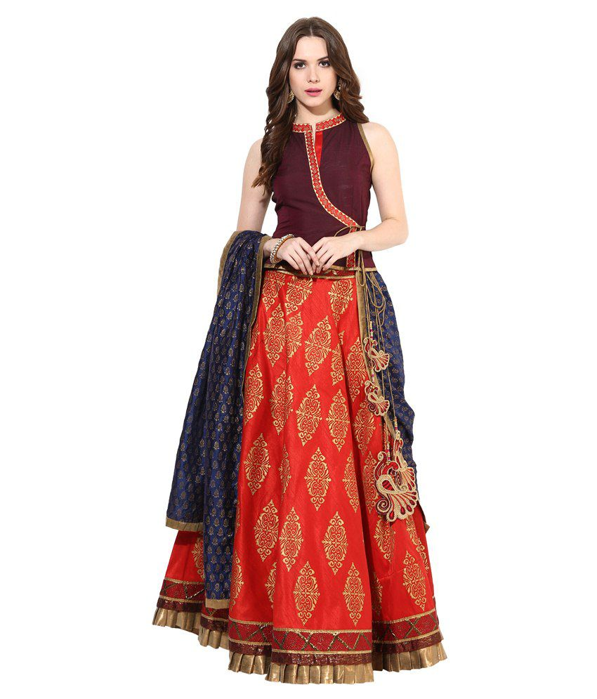 5443483431 Shakumbhari Red and Brown Brocade Lehenga - Buy Shakumbhari Red and Brown Brocade  Lehenga Online at Best Prices in India on Snapdeal