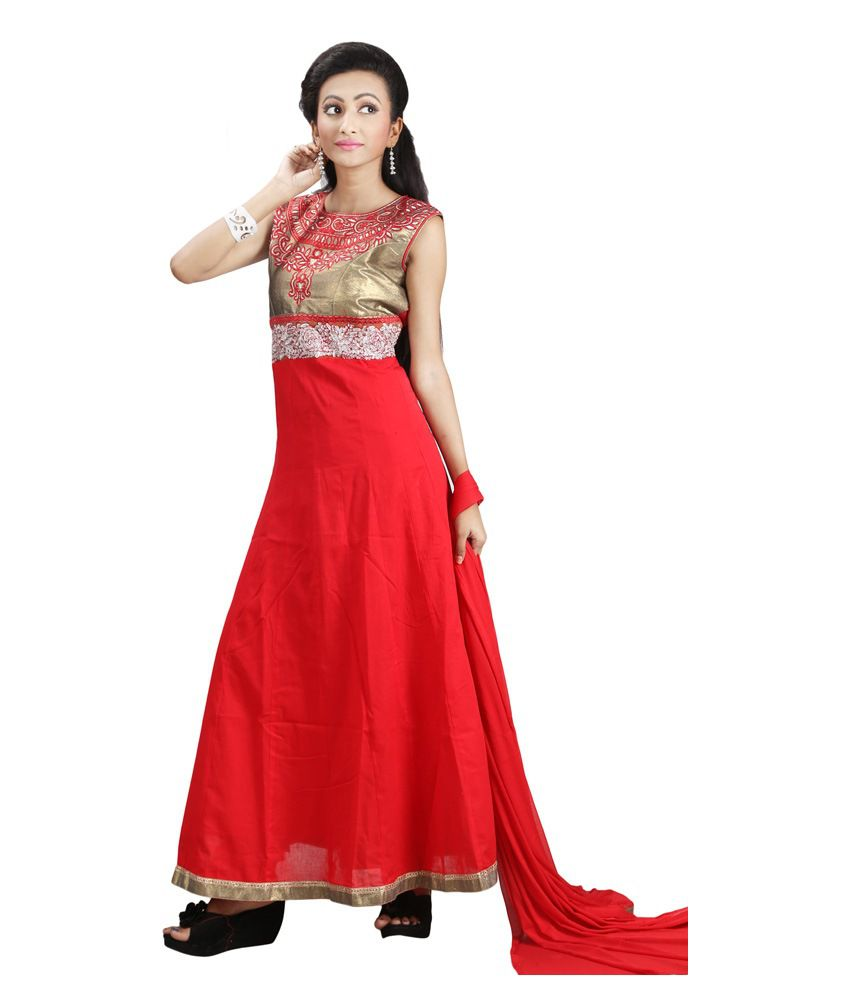 Sharmili Red Cotton Stitched Suit