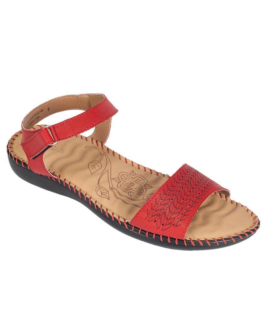 Khadim's Red Flat Sandals