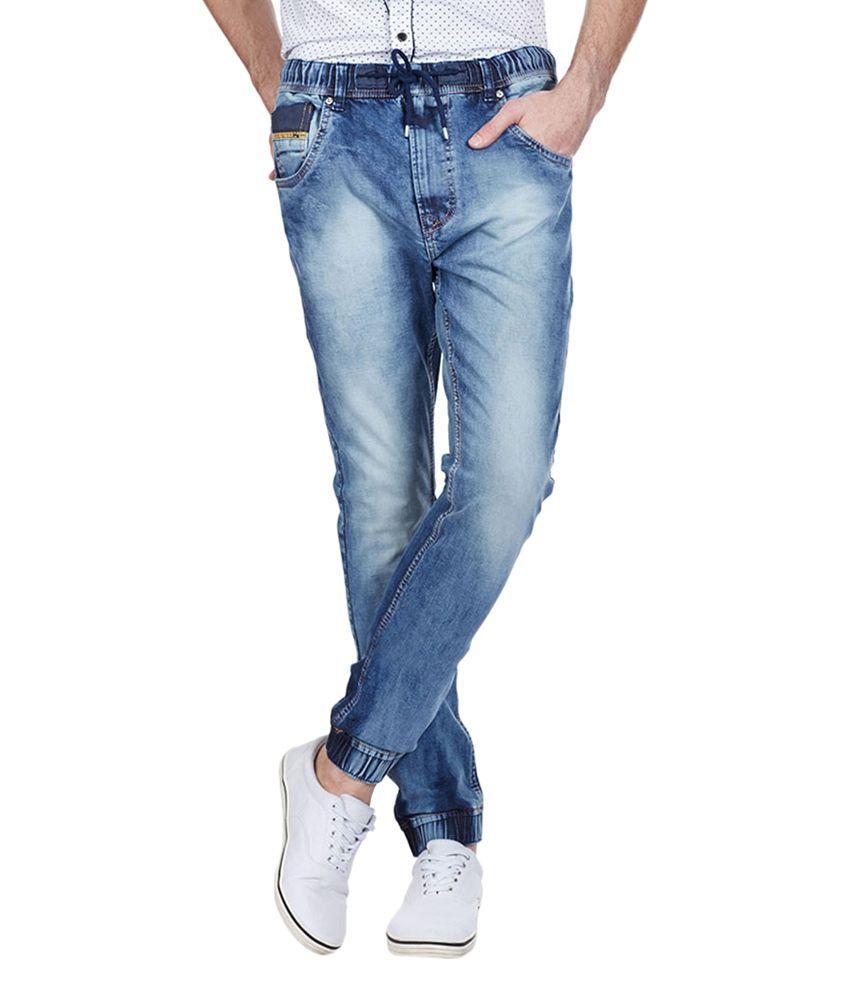 Vintage Blue Cotton Blend Slim Fit Jeans for Men