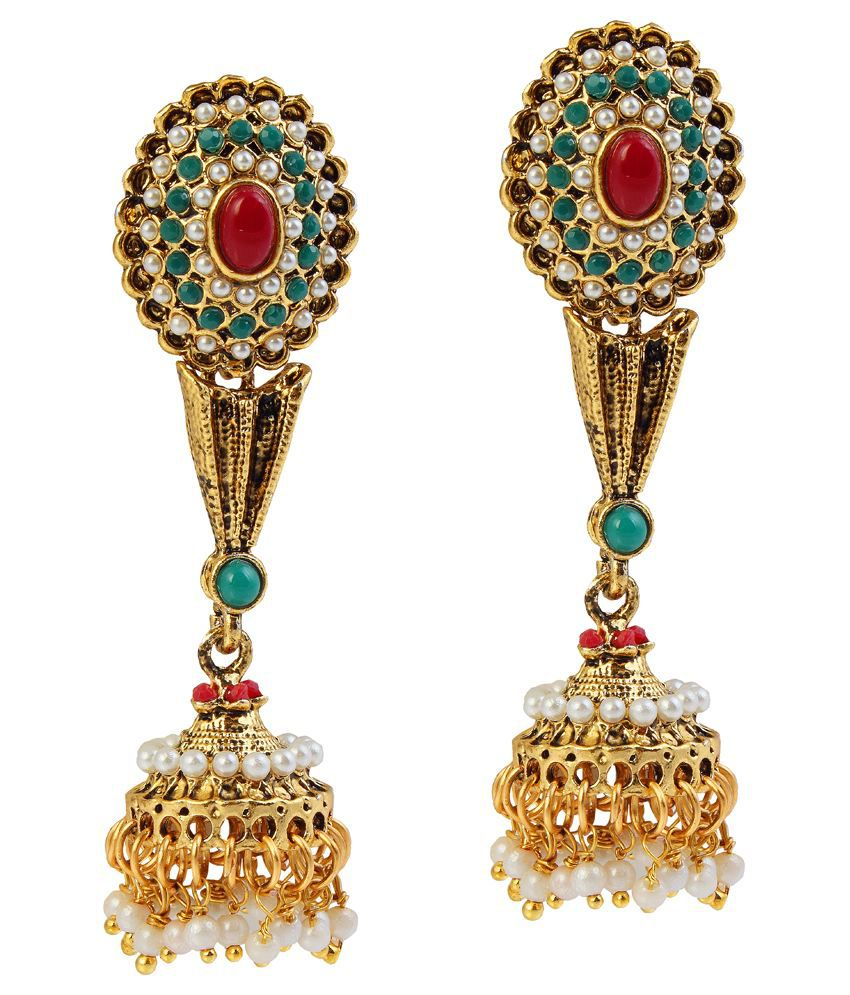 9blings Multi Pearls Drops Earings