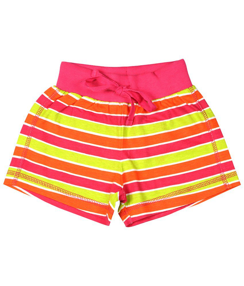 Chalk by Pantaloons Pink & Yellow Striped Shorts