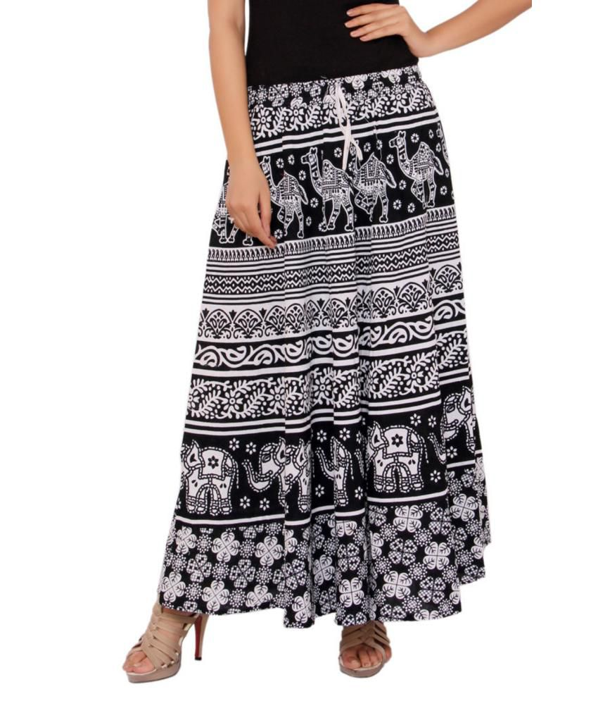 b3e5d5a2d6 Buy MSONS Women's Black & White Animal Printed Long Skirt in Cotton Fabric  - Free Size Online at Best Prices in India - Snapdeal