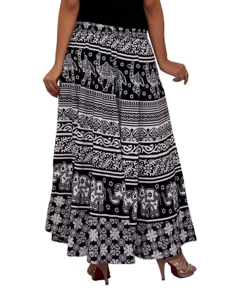 3d4bdc4c31 ... MSONS Women's Black & White Animal Printed Long Skirt in Cotton Fabric  - Free ...