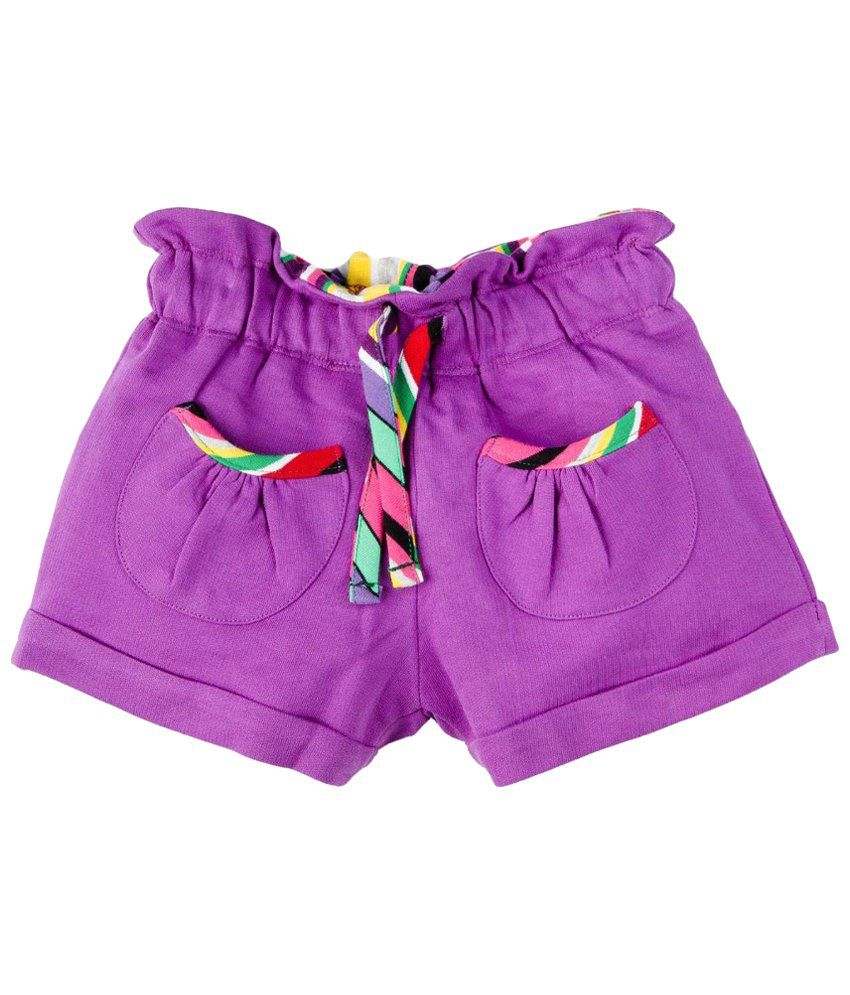 Oye Purple Cotton Shorts