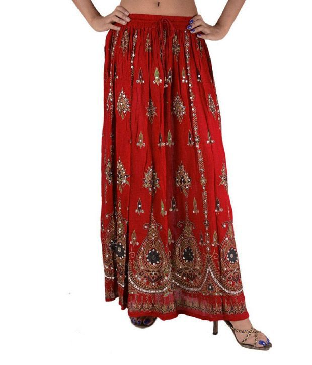 Ramaya Red Rayon Maxi Skirt
