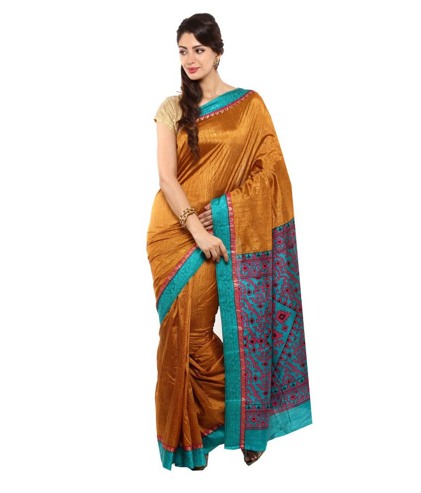 Sudarshan Silks Brown and Blue Art Silk Saree with Blouse Piece
