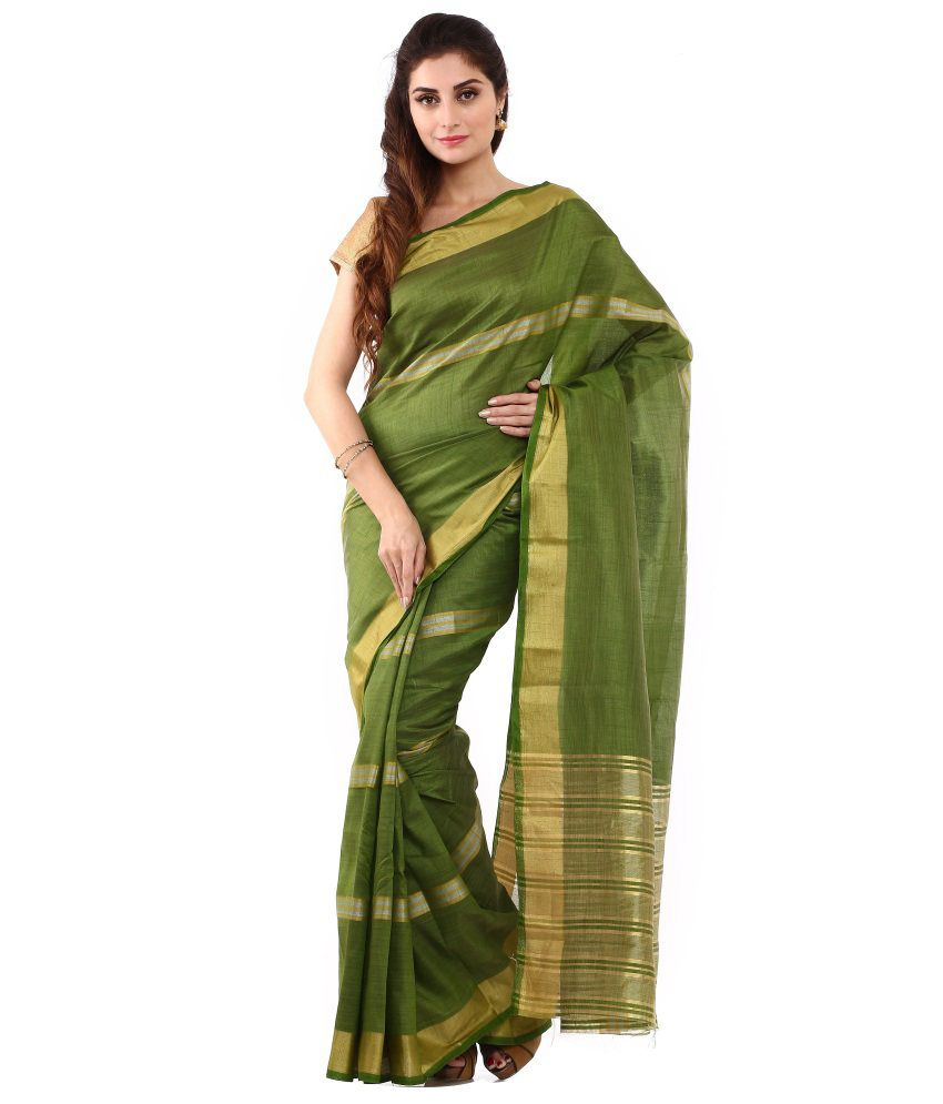 Sudarshan Silks Green and Gold Art Silk Saree with Blouse Piece