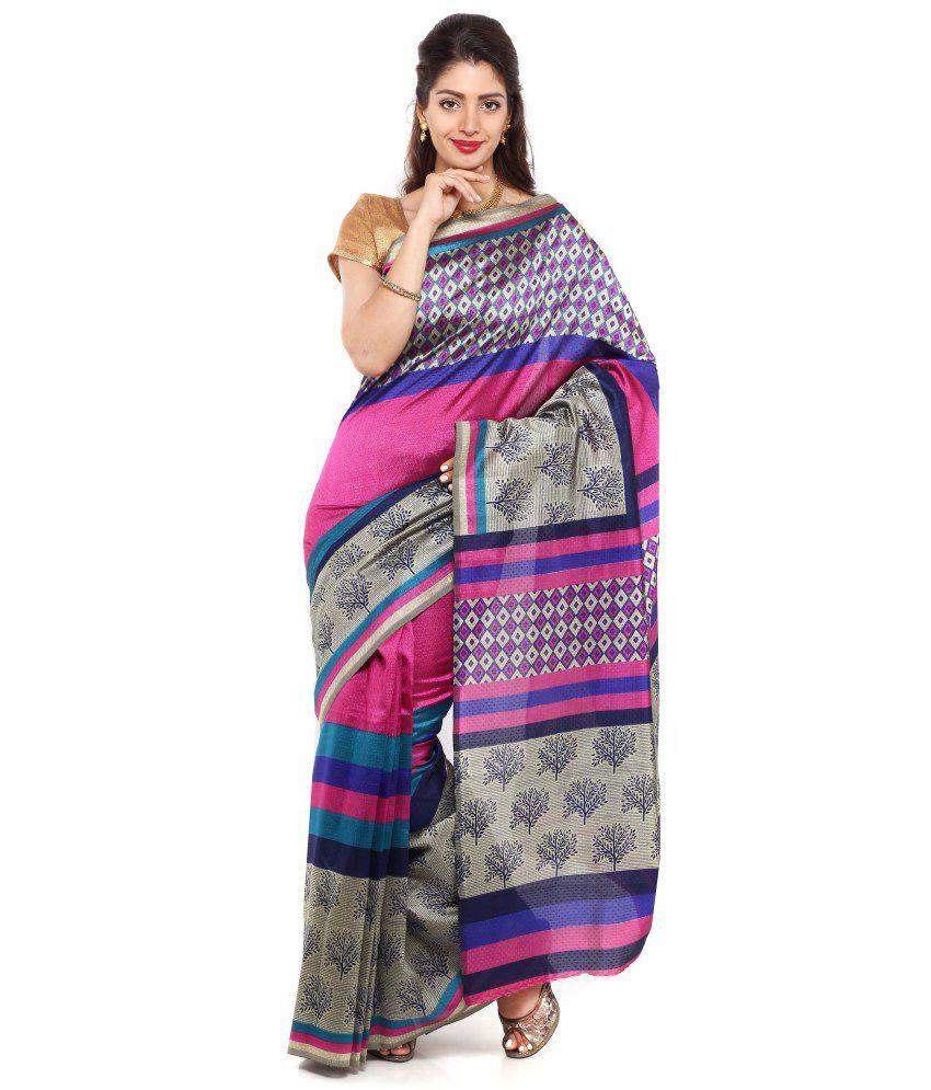 Sudarshan Silks Pink and Gray Art Silk Saree with Blouse Piece