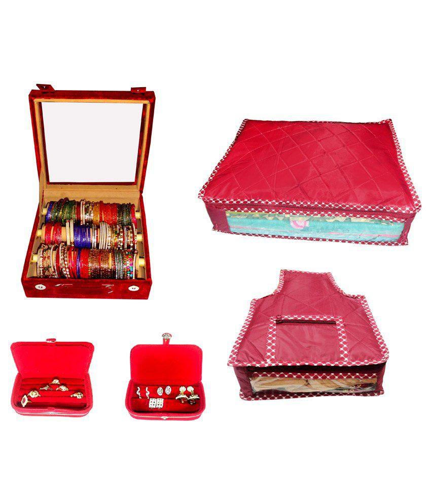 Atorakushon Roll Rod Bangles Box With Clear Plastic 1 Saree Cover 1 Blouse Cover 1 Earring Box 1 Ring Box - Combo Of 3