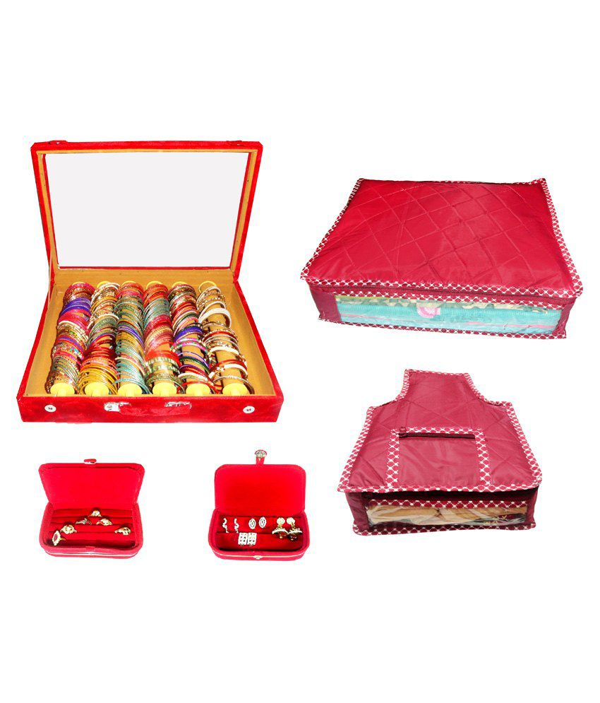 Atorakushon Roll Rod Bangles Box With Clear Plastic 1 Saree Cover 1 Blouse Cover 1 Earring Box 1 Ring Box - Combo Of 6