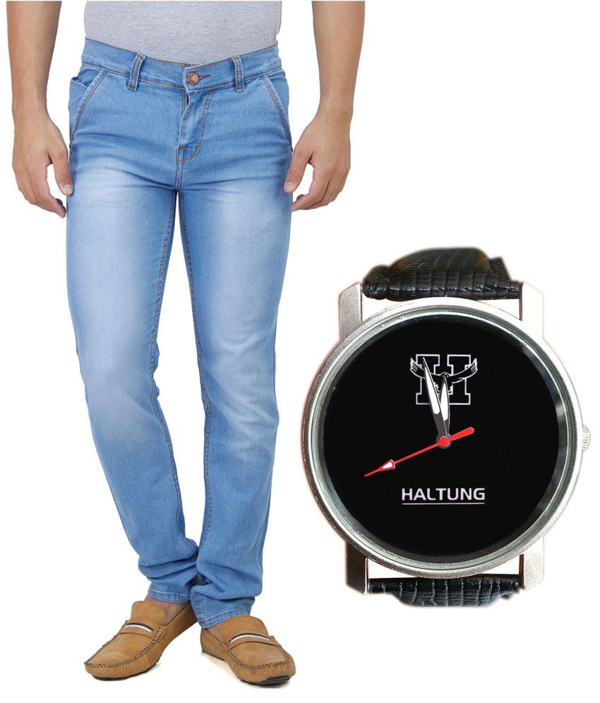 Haltung Ice Blue Faded Jeans with Free Watch