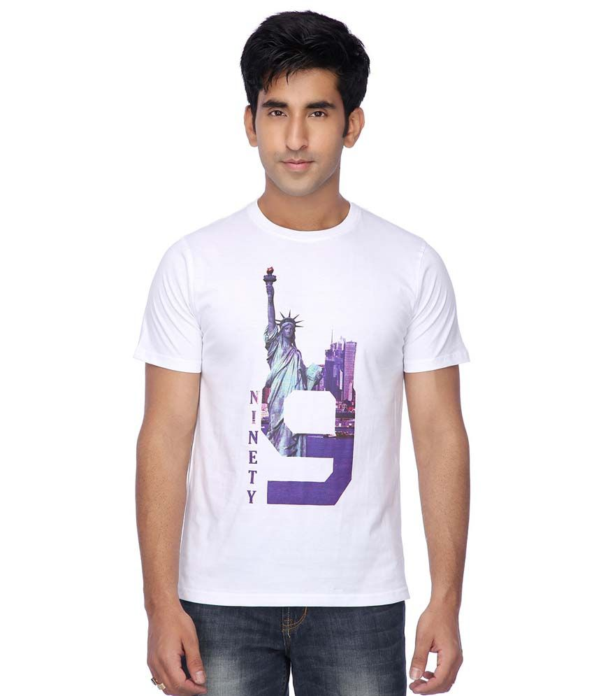 Life by Shoppers Stop White Cotton T-Shirt