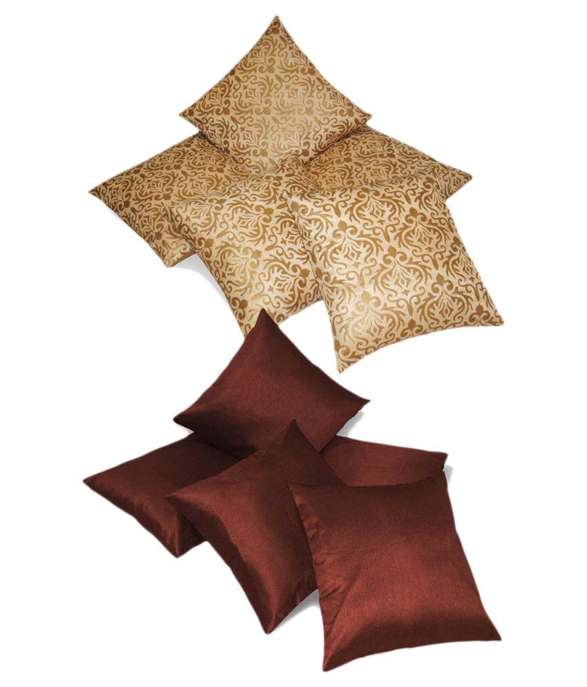 Zikrak Exim Set of 10 Polyester Cushion Covers 40X40 cm (16X16)