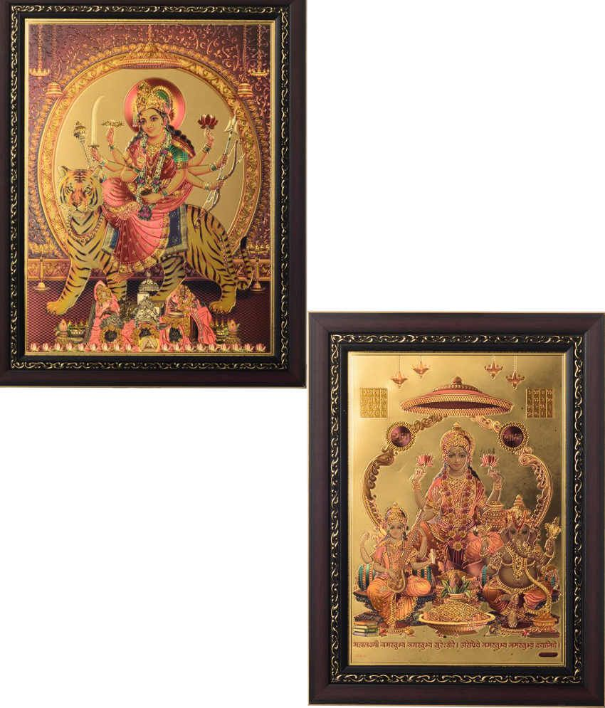 Ecraft Gold and Brown Paintings - Set of 2