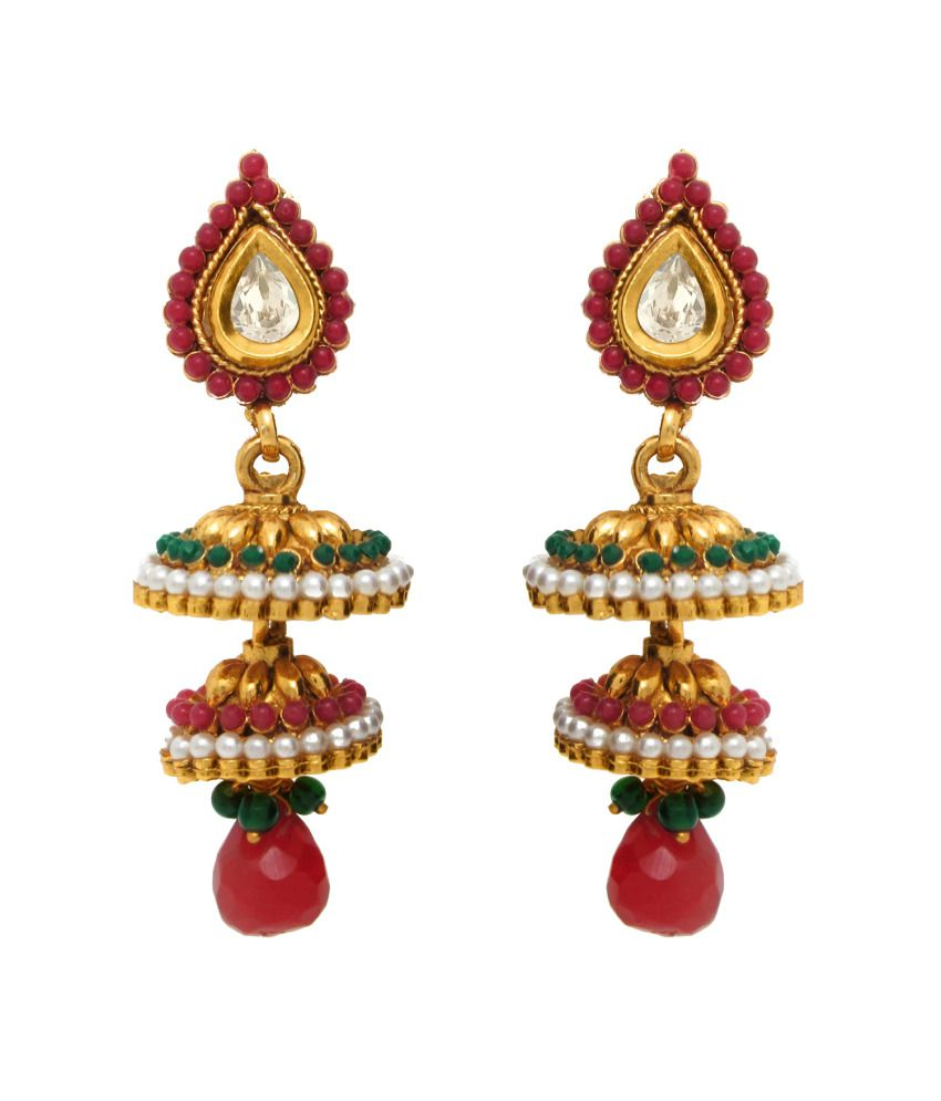 Donna Traditional Ethnic Double Jhumki with Colored Crystal for Women by Donna ER30014G