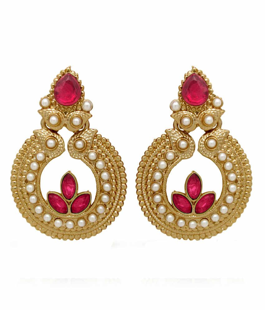 Donna Traditional Ethnic Gold Plated Leafy kalash Dangler Earrings with Crystal For Women by Donna ER30043GPin