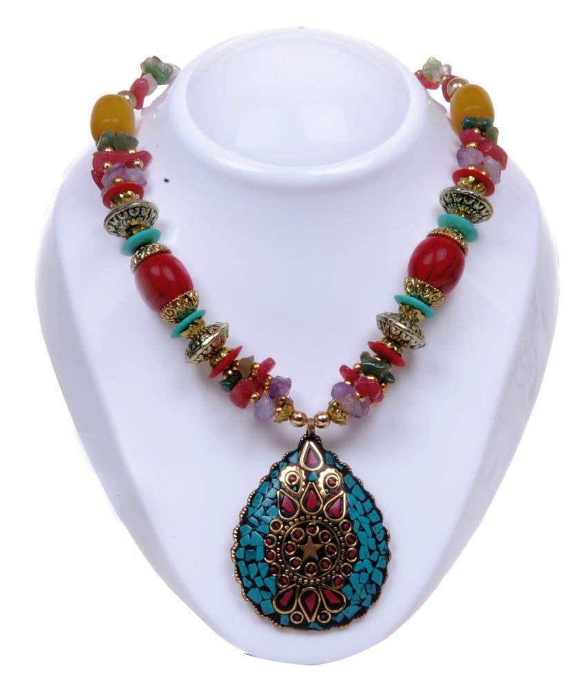 Twella Creations Multicolor, TURQUOISE BLUE PENDANT Necklace