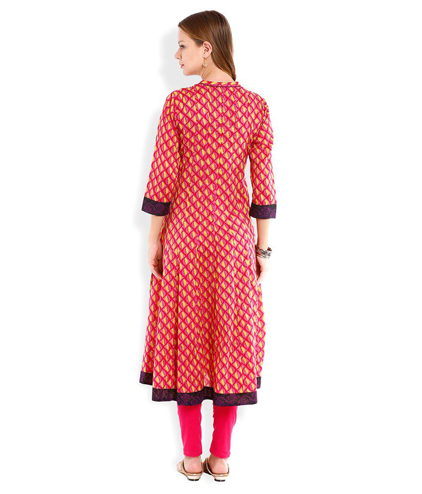 e642f922b Vishudh Pink Printed Anarkali Kurta - Buy Vishudh Pink Printed Anarkali Kurta  Online at Best Prices in India on Snapdeal