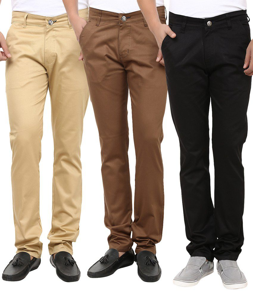 Ben Carter Cotton Slim Fit Formal Chinos - Combo of 3