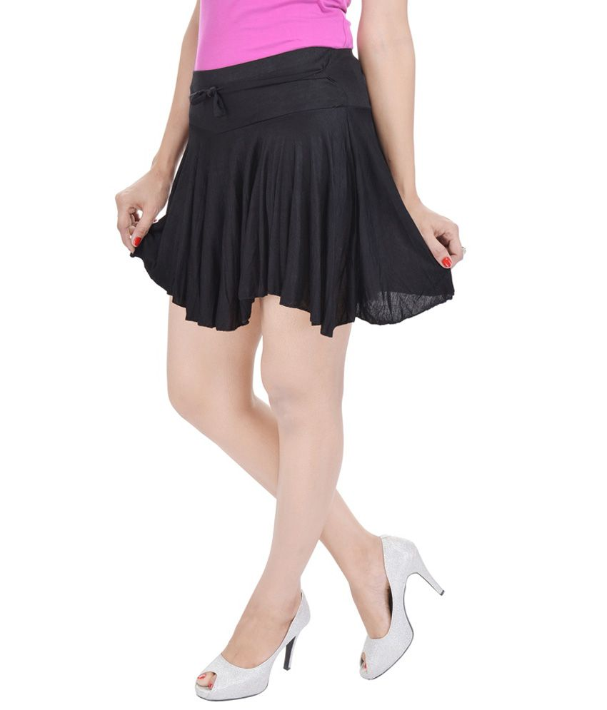 92523fdb1ddb Buy Rajasthani Sarees Black Cotton Lycra Mini Skirt Online at Best ...