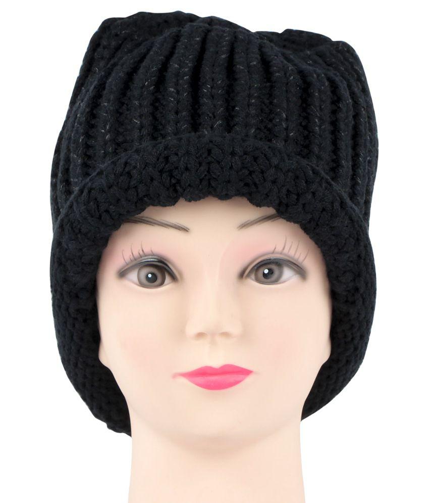 Bonjour Black Woolen Cap For Women