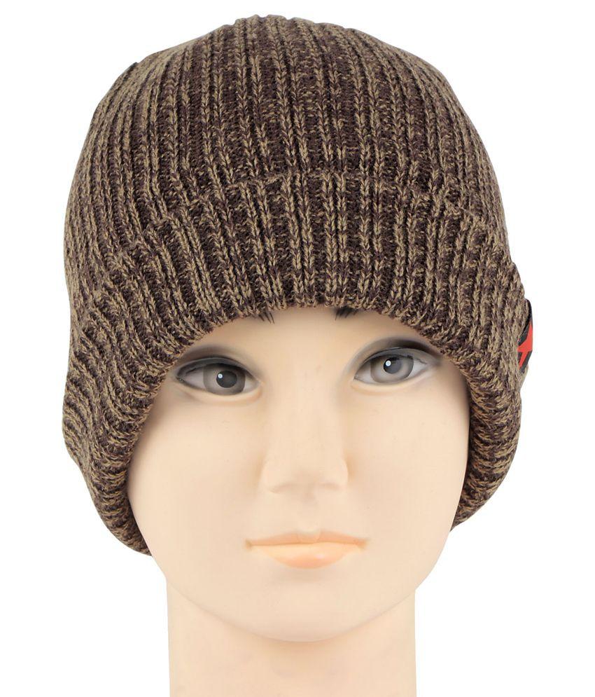 Bonjour Brown Woolen Cap For Men - Buy Online   Rs.  973fdd39208