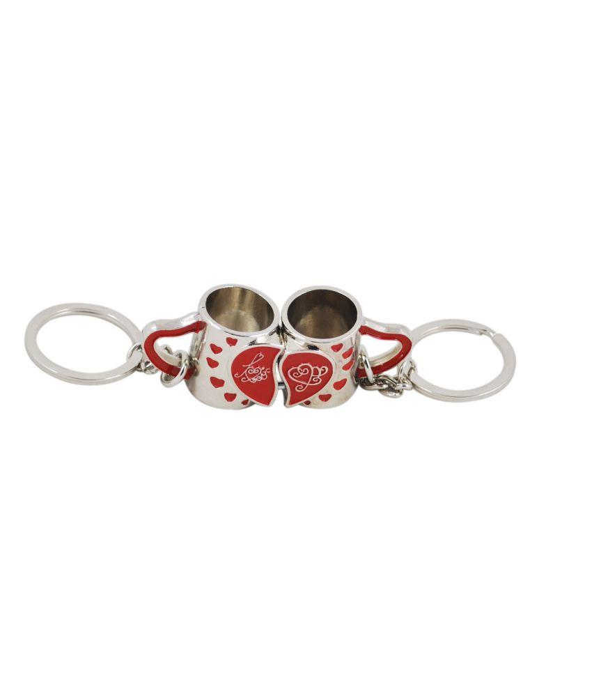 Couple Mug Red Shaped Key Chain
