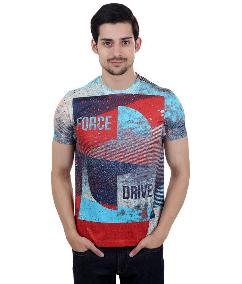 Freecultr Express Blue & Red Force Fitness Printed T Shirt