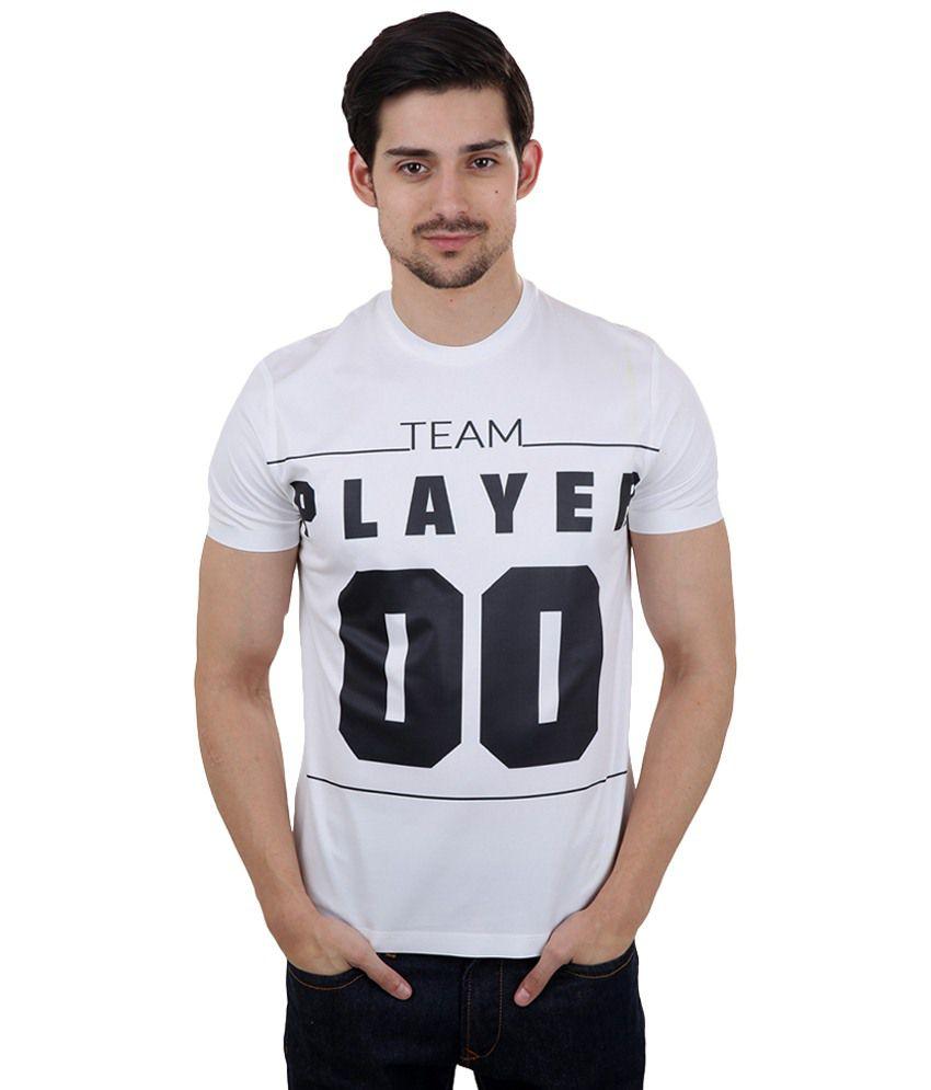 Freecultr Express White & Black Team Player Printed T Shirt