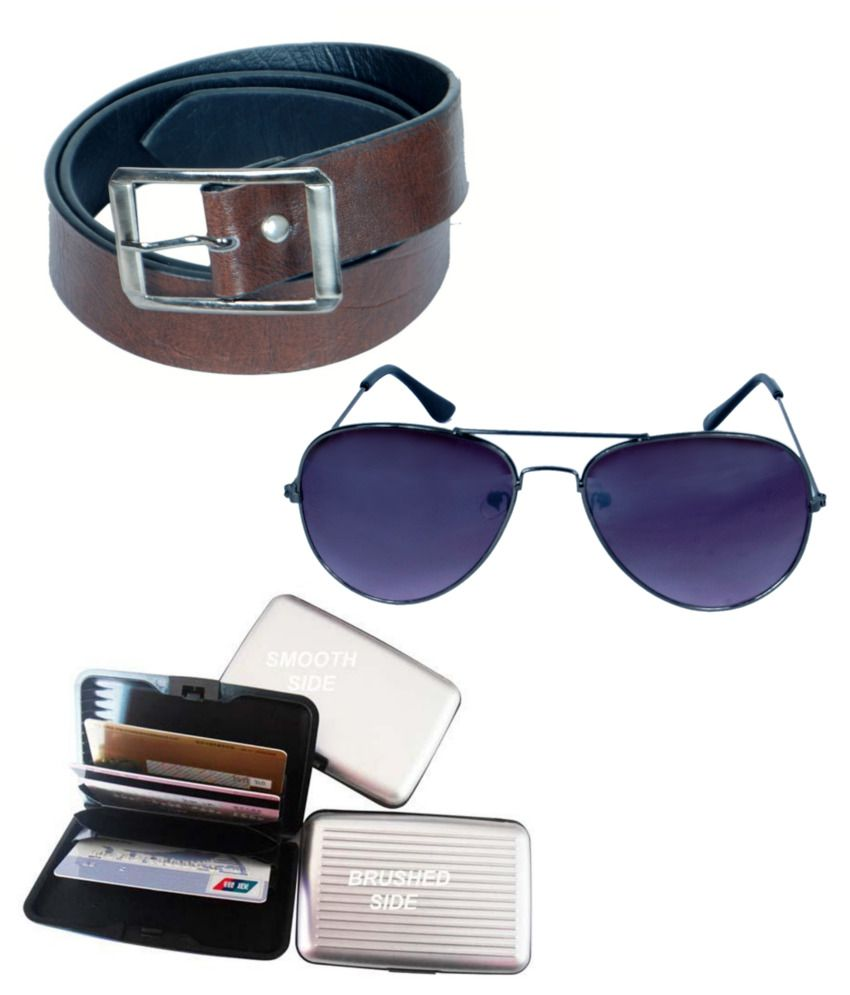 KVELL Be Proud Present's Present's Combo Of Soft Brown Belt , Card Wallet & Assorted Sunglasses