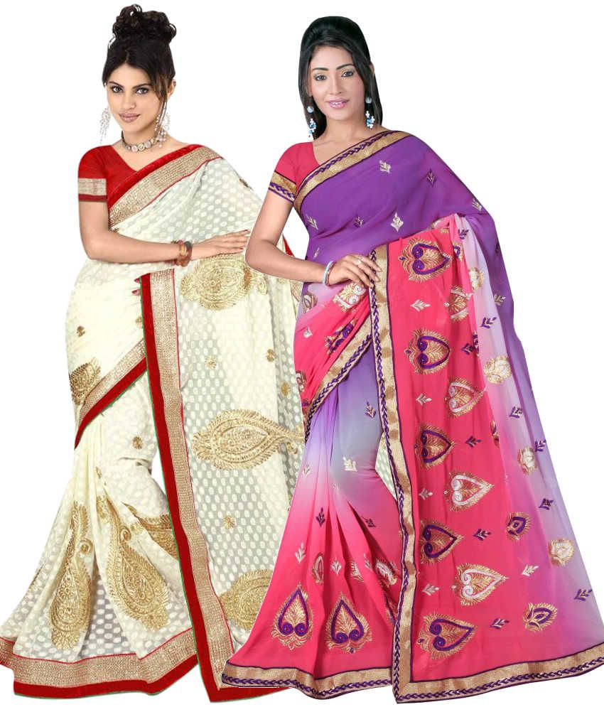 Reya Combo of White and Purple Embroidered Faux Georgette Sarees with Blouse Piece (Pack of 2)