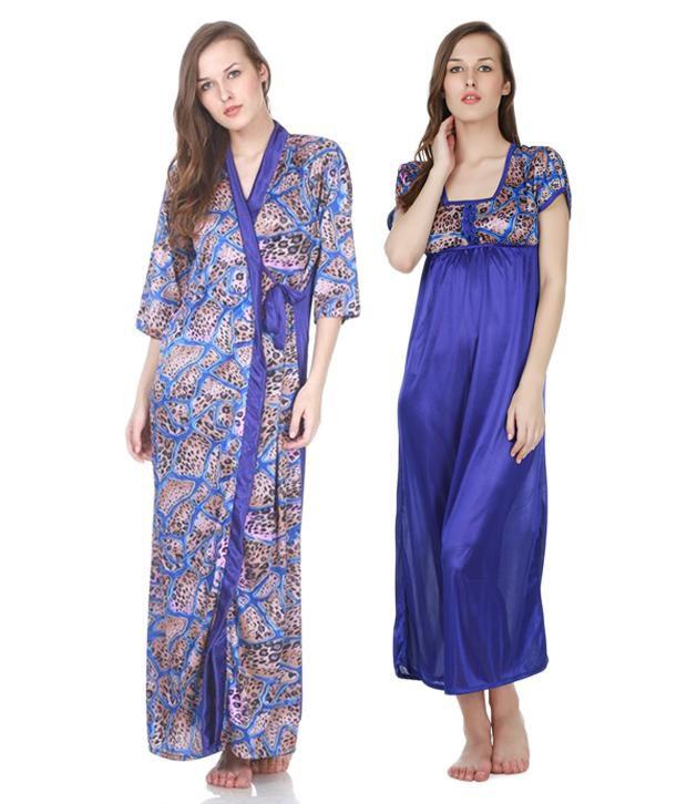 cd47d21c8f Claura Blue Satin Nighty Pack of 2