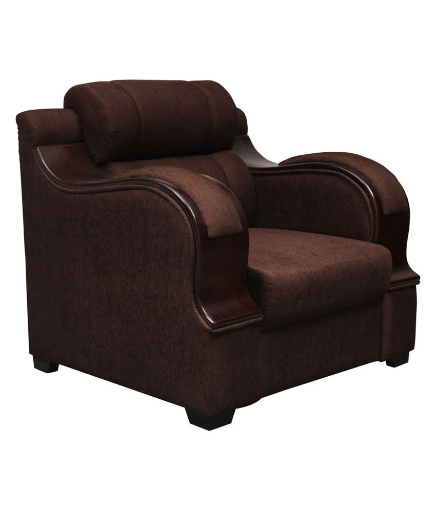 Panache Solid Wood 1 Seater Sofa In Brown ...