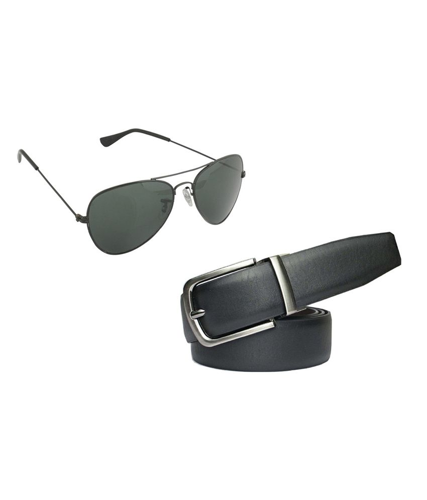 Saugat Traders Black Reversible Belt With Sunglasses