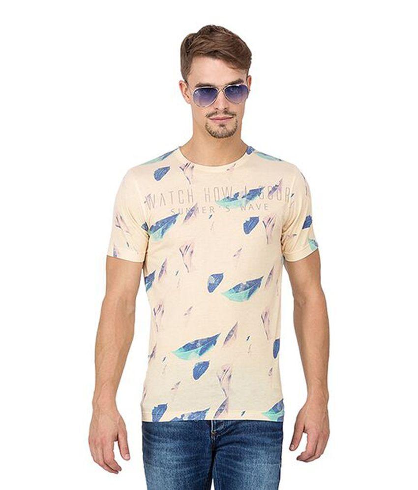 Slub Beige Cotton Round Neck Printed Men's T-Shirt