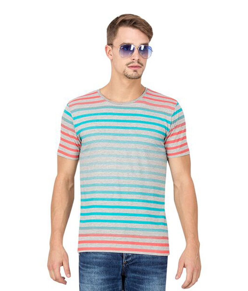 Slub Multicolour Cotton Round Neck Men's T-Shirt