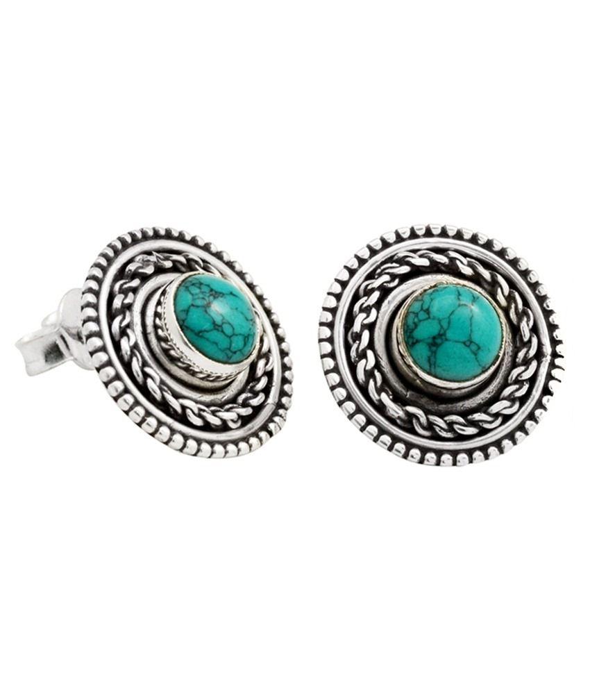 Yugshajewels 92.5 Sterling Silver Stud Earrings