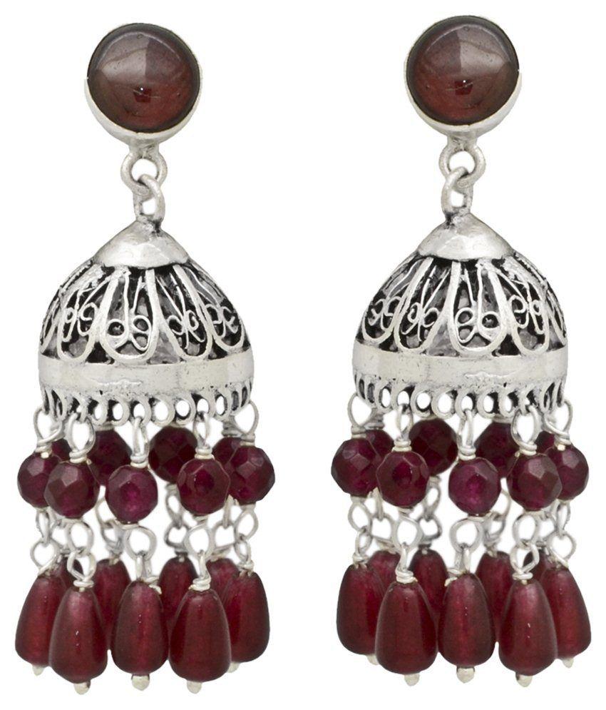 Yugshajewels 92.5 Sterling Silver Jhumki Earrings