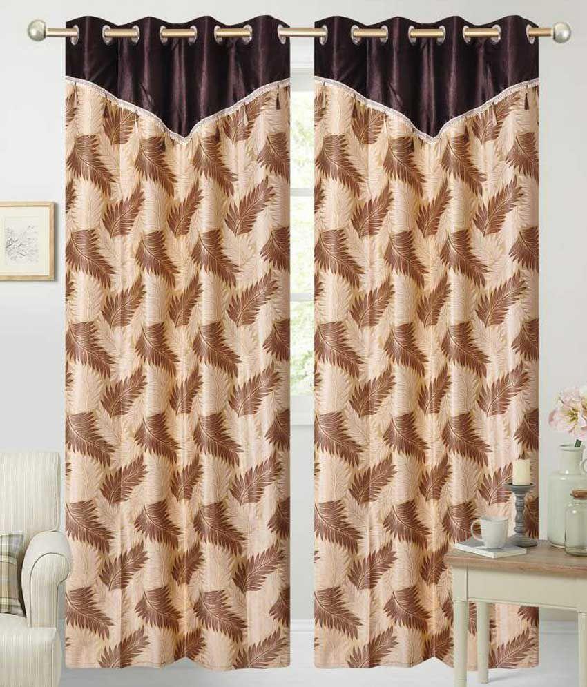 Fresh From Loom Set of 2 Long Door Eyelet Curtains Floral Brown