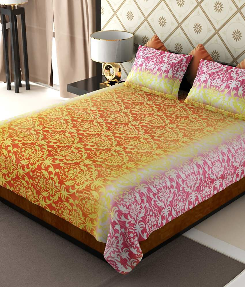 Home Candy Multicolour Floral Cotton Double Bedsheet with 2 pillow cover