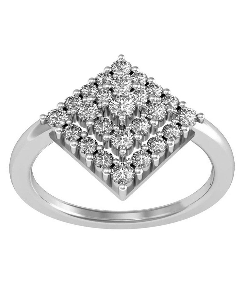 Jewel Hub 92.5 Silver Cocktail Rings Diamond Ring