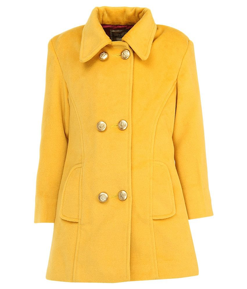 Little Kangaroo Full Sleeves Yellow Color Collor Neck Jacket For Kids