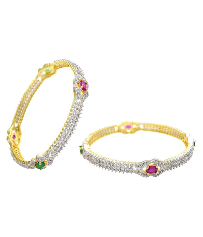 Pearls Cart Multicolour Alloy Bangle Set - 2 Pcs