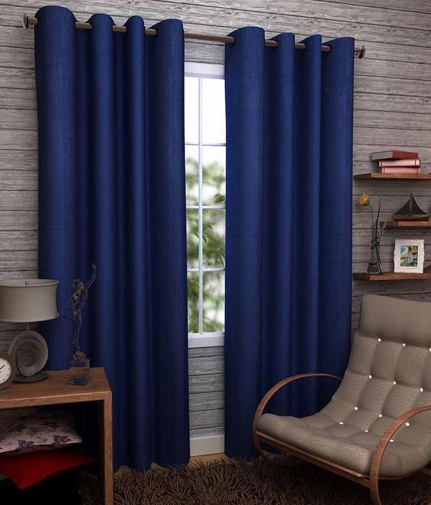elegance single door eyelet curtain solid blue buy. Black Bedroom Furniture Sets. Home Design Ideas