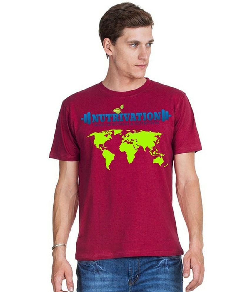 Nutrivation Maroon Cotton T-Shirt